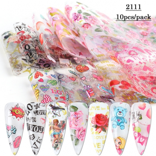10pcs/pack Valentines Nail Art Decorations Foil Romantic Love Transfer Stickers For Manicure Colorful Flower Nail Decal Wraps