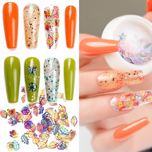 1jar Holographic Laser Gradient Flower Butterfly Wood Pulp Soft Nail Art Glitter Nail Slices