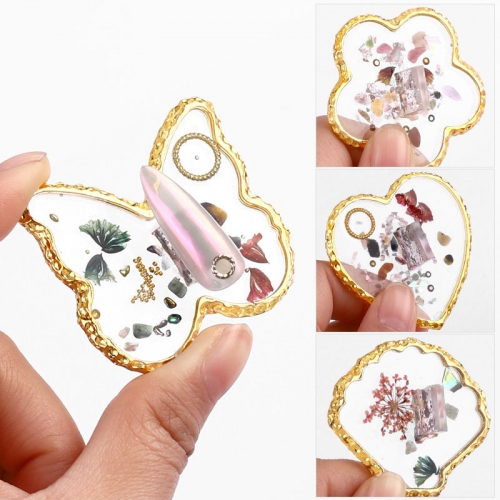 1pcs Nail Art Crystal Agate Palette Butterfly Heart-shaped Nail Polish Drawing Holder Color Paint DIY Nail Art Display