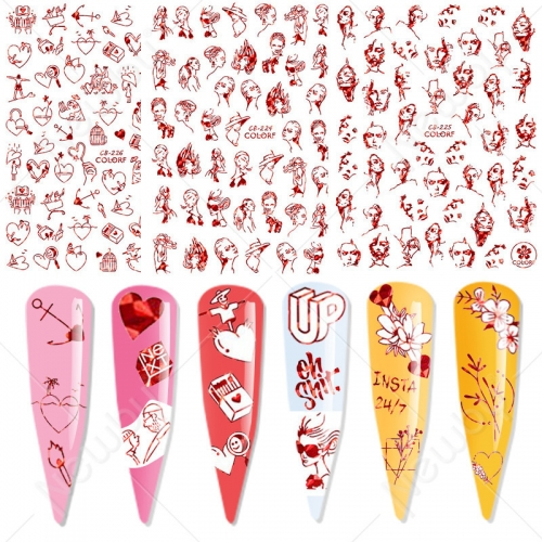 1sheet Laser Red Woman Face Line Decals Love Heart Valentine Nail Sticker