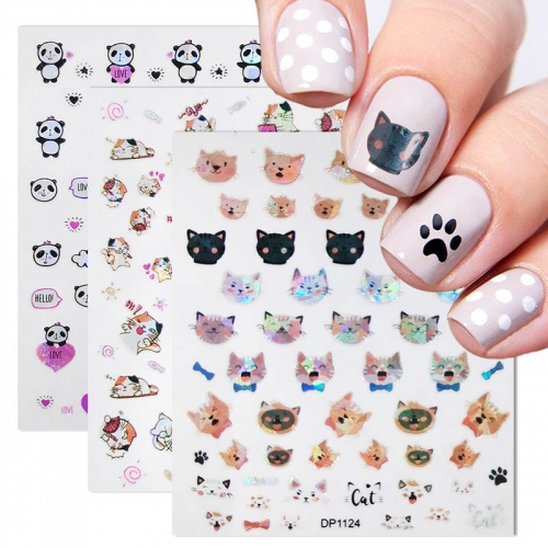 1 Sheet Nail Art 3D Laser Sticker Nail Adhesive Sticker Laser Two-color Cat Dog Head Virgin Cartoon Nail Art Decorations Nail Sticker