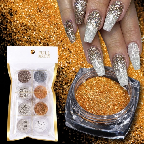 8Pcs/Set Nail Glitter Set Gold and Silver Laser Fine Powder Round Piece Woolen Fine Sand Nails