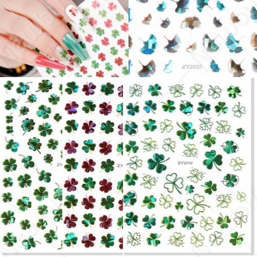 1sheet Ginkgo Biloba Green Four-leaf Clovers Wholesale Holographic Nail Art Sticker Decal