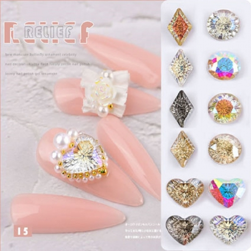 1pcs New Fashion Nail Art Rhinestones Crystal Stones Lucky Stone Nail Gems 3D Glitters DIY Decorations Manicure