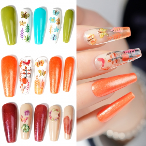 1jar Colorful Fall Leaves Decals Decoration Beautiful Butterfly Wood Pulp Nail Art Slices