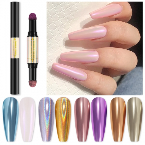 1pcs Magic Mirror Nail Powder Cushion Pen Holographic Laser Nail Art Glitter Solid Chrome Pigments UV Gel Manicure Accessories