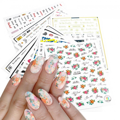 1pcs Vintage Flower Newpaper Letter Design Nail Art Sticker 3D Tips Slider Decals Self Adhesive Decorations DIY Manicure