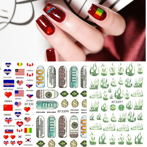 1sheet Wealthy Rich Style National Flag Adhesive Nail Tabs Money Dollar Nail Stickers Wraps