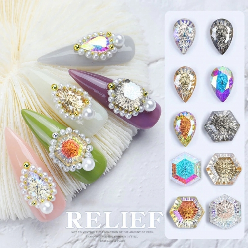 1 Pcs Nail Art Rhinestones Crystal Stones Lucky Stone Nail Gems 3D Glitters DIY Decorations Manicure