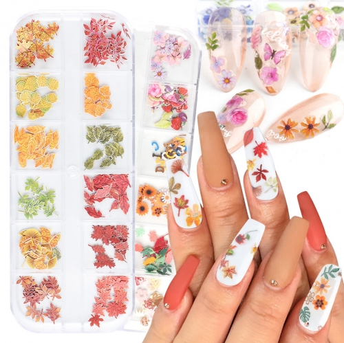 12Grids/Box New Dried Flowers Wood Pulp Sheet Colorful Flowers Butterfly Maple Leaf Beauty DIY Accessories